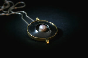Sligo, Gold, Pearl, Engagment, Goldsmith, Jewellery, Highend, Sligo, Ireland, Design, Wild atlantic way, Oxerdised silver, pendant, Necklace, Goldsmith, Highend, Design, Irish, Ireland, Jeweller,