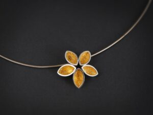 new, available,Five Point Flower One off contemporary jewellery design, Hand Made, Design, Jewellery design, Irish contemporary Design, Irish Design, Contemporary jewellery design, Sligo Jeweller, Sligo Goldsmith,